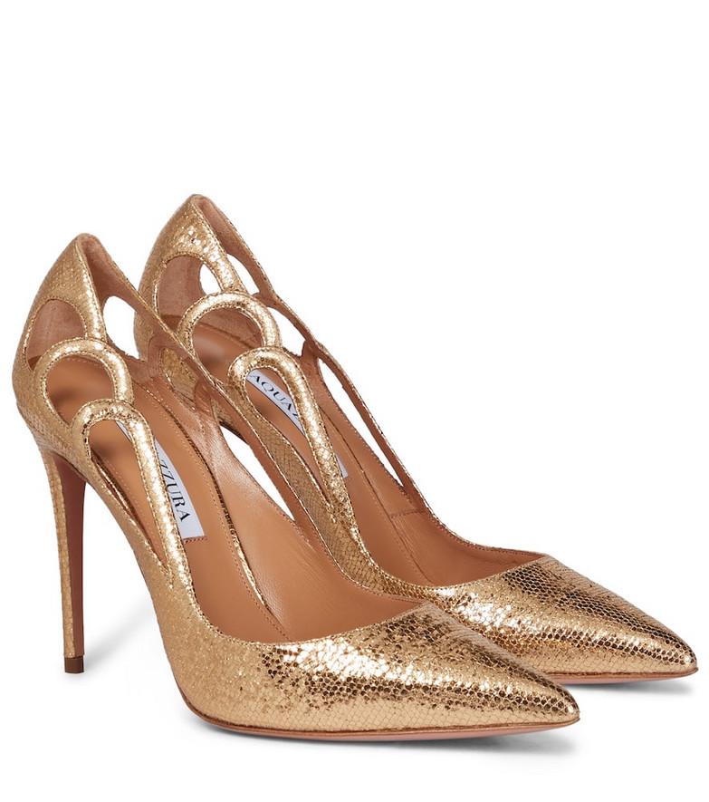 Aquazzura Fenix 105 leather pumps in gold
