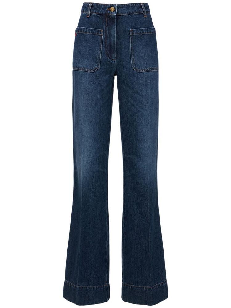 VICTORIA BECKHAM Alina High Waist Flare Denim Jeans in blue