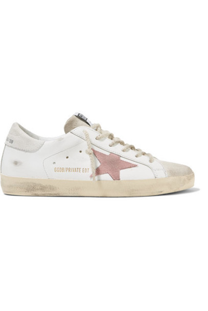 Golden Goose - Superstar Distressed Leather And Suede Sneakers - White