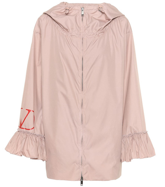 Valentino Ruffle-trimmed nylon-poplin jacket in pink