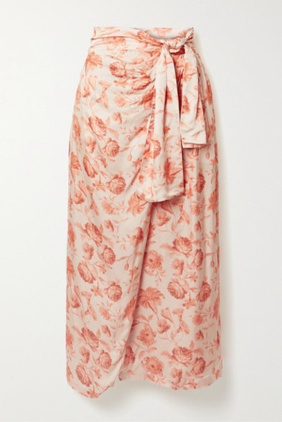 Mother of Pearl - Net Sustain Wrap-effect Floral-print Hammered-satin Midi Skirt - Peach