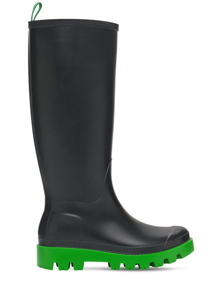 GIA COUTURE 30mm Giove Bis Tall Rubber Rain Boots in black / green