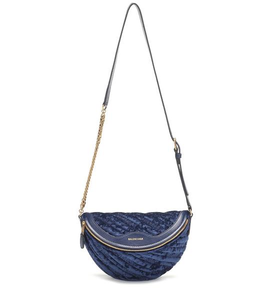 Balenciaga Souvenirs XXS velvet belt bag in blue