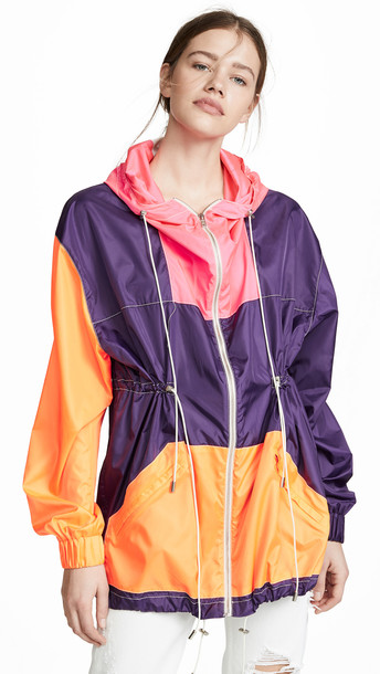 Prabal Gurung Zip Front Anorak in orange / pink / purple