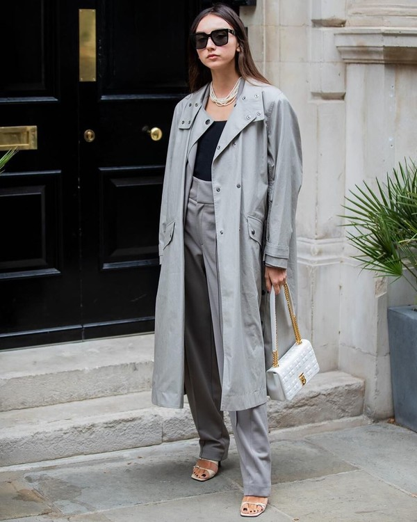 coat trench coat white sandals high waisted pants white bag tank top
