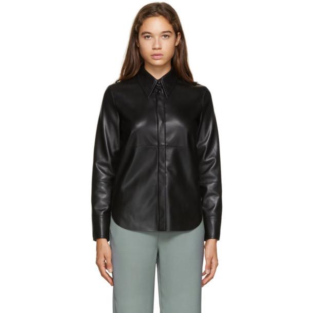 Nanushka Black Vegan Leather Naum Shirt