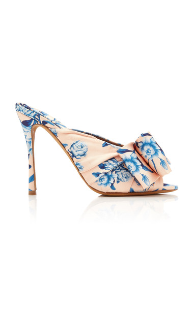 Tabitha Simmons x Johanna Ortiz Lollie Printed Bow-Detailed Silk Mules in pink