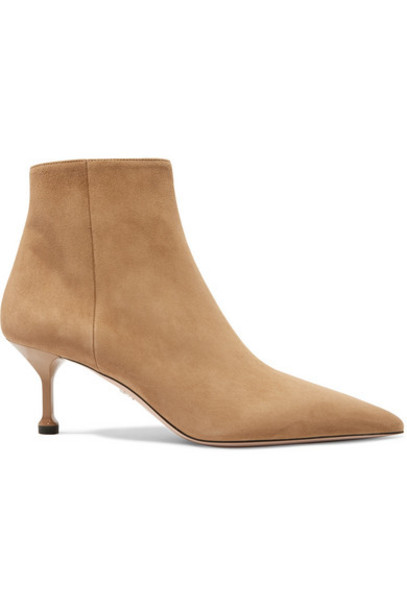 Prada - 65 Suede Ankle Boots - Camel
