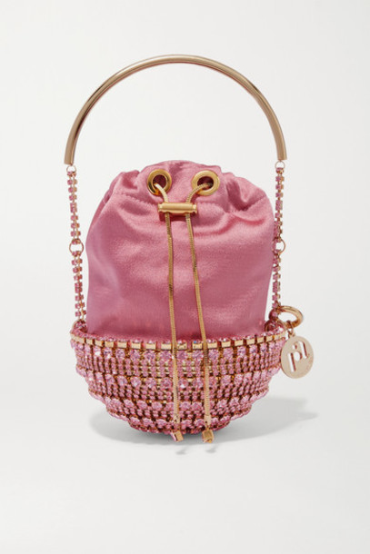 Rosantica - Kingham Small Embellished Satin Bucket Bag - Antique rose