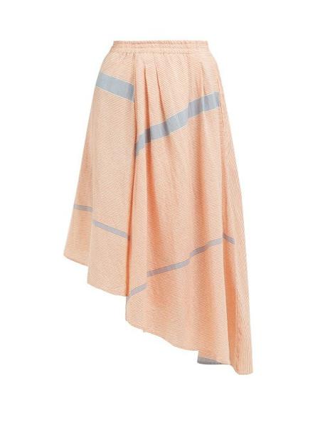 Apiece Apart - Turkanna Striped Handkerchief Hem Cotton Skirt - Womens - Red