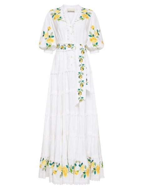 Ale mais - Rosa Floral-embroidered Midi Dress - Womens - Ivory