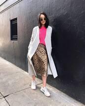 skirt,midi skirt,leopard print,nike sneakers,long coat,pink sweater