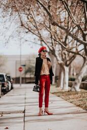 hallie daily,blogger,jacket,jeans,sweater,shoes,sunglasses,bag,red heels,red pants,beret,winter outfits