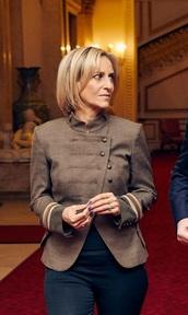 jacket,emily maitlis,military style,blazer,bbc,brown,beige,heather grey