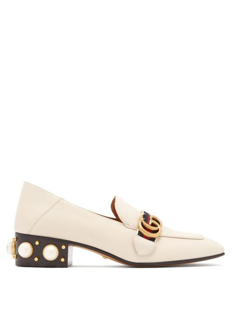 Gucci - Peyton Pearl Embellished Leather Loafers - Womens - White