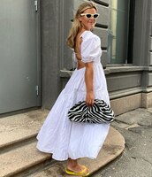 dress,maxi dress,slide shoes,backless dress,bag,zebra