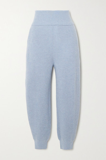 Stella McCartney - Ribbed Cashmere And Wool-blend Tapered Pants - Blue