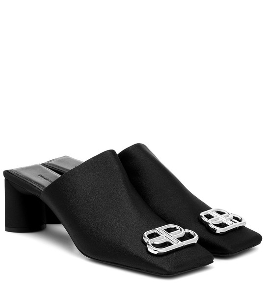 Balenciaga Double Square stretch-jersey mules in black