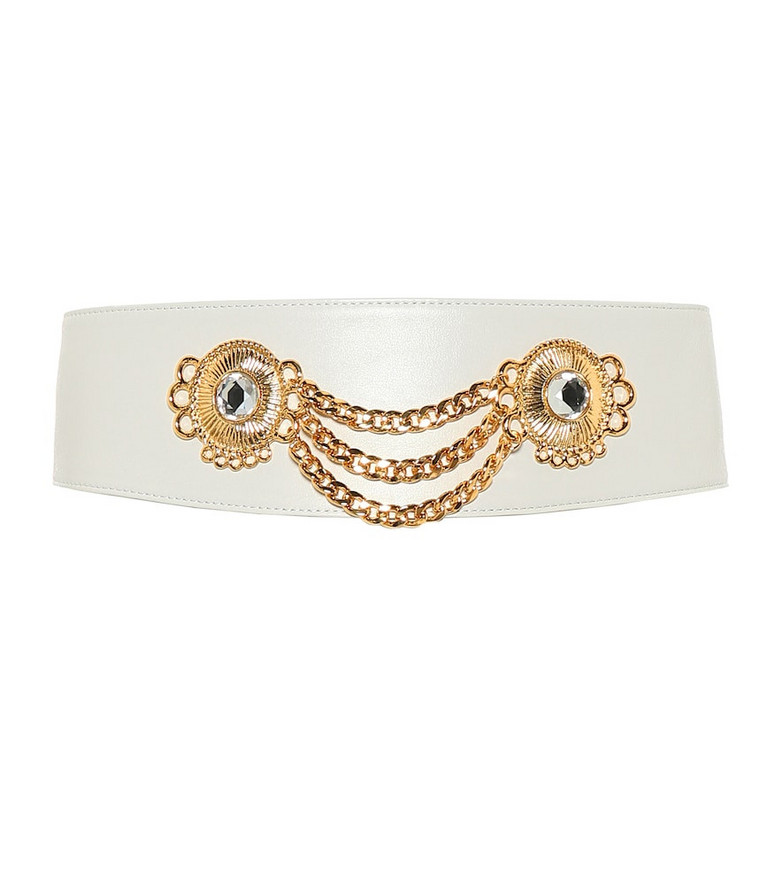 Alessandra Rich Embellished leather belt in white