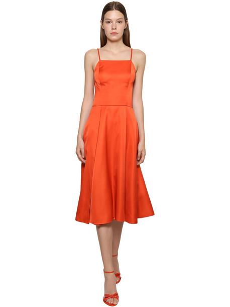 RALPH LAUREN COLLECTION Glossy Duchesse Chain Strap Midi Dress in red