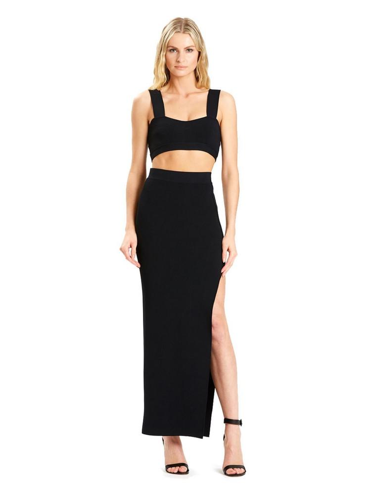 HERVÉ LÉGER Stretch Viscose Knit Skirt W/side Slit in black
