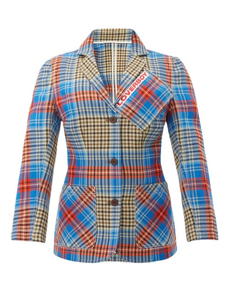 Charles Jeffrey Loverboy - Loverboy Single Breasted Tartan Wool Jacket - Womens - Beige Multi