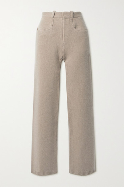 Deveaux - Pearl Wool And Cashmere-blend Straight-leg Pants - Taupe