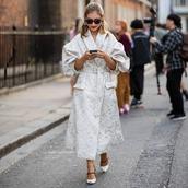 coat,long coat,embroidered,white shoes,pumps,simone rocha,earrings,sunglasses
