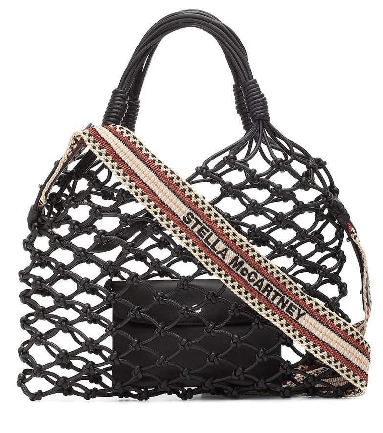 Stella McCartney Faux-leather net tote in black