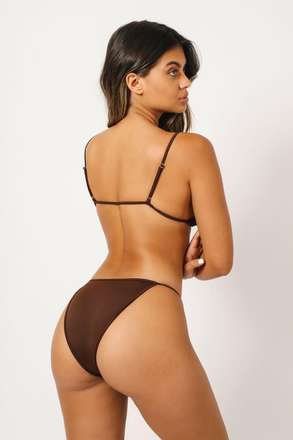 swimwear kaohs swimwear ishine365 shop ishine365 brown bikini thin straps cheeky bikini