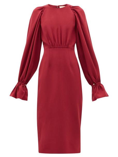 Roksanda - Vaniria Gathered Cady Pencil Dress - Womens - Burgundy