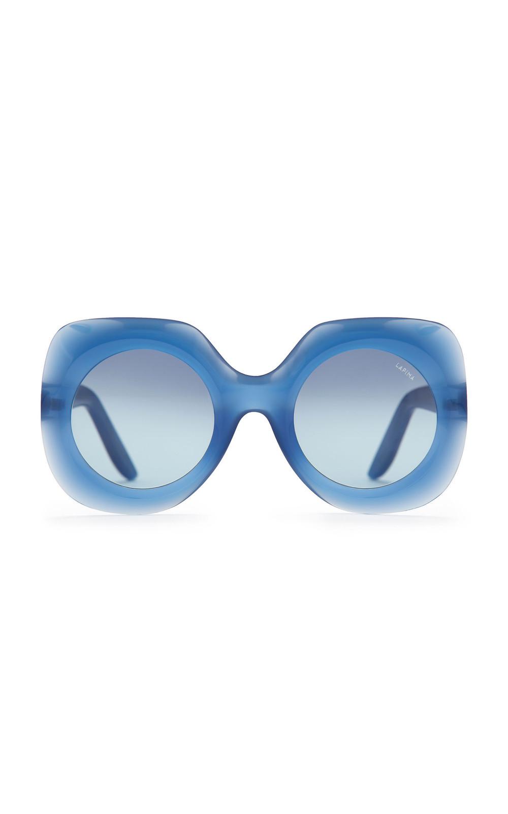 Lapima Paula Round-Frame Acetate Sunglasses in blue