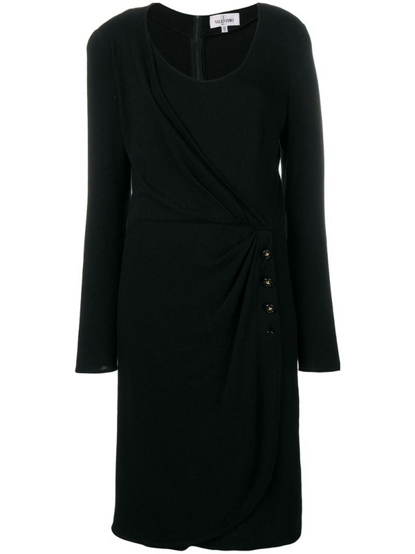 Valentino Pre-Owned buttoned wrap detail dress in black
