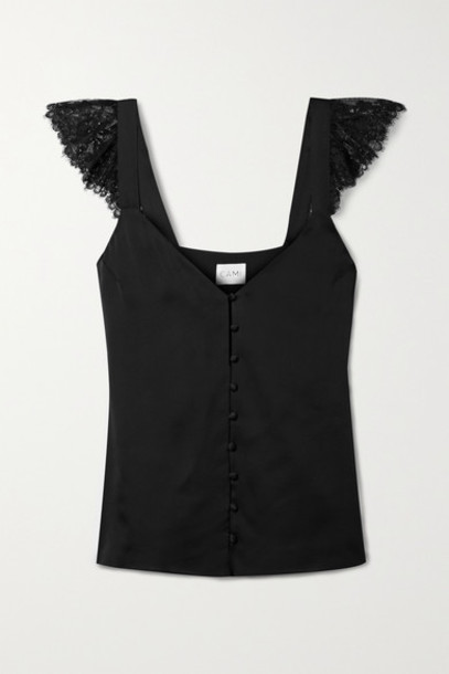 Cami NYC - Victoria Lace-trimmed Silk-charmeuse Camisole - Black