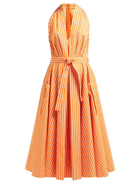 Sara Battaglia - Belted Striped Cotton Midi Dress - Womens - Orange Multi
