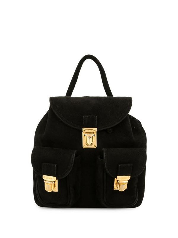 Fendi Pre-Owned suede snap fastening backpack in black