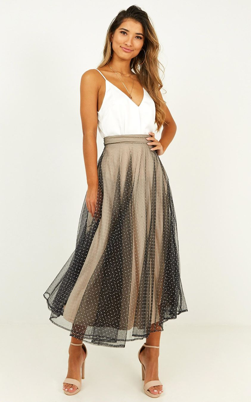 Wishful Thought Skirt In Black Spot