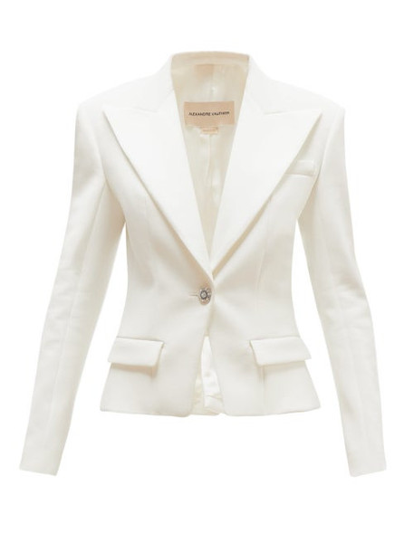 Alexandre Vauthier - Crystal Button Single Breasted Crepe Blazer - Womens - Ivory