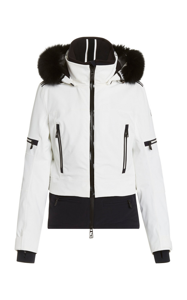 Toni Sailer Penelope Fur-Hood Nylon Ski Jacket in white