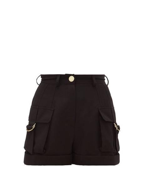 Balmain - High-rise Wool Cargo Shorts - Womens - Black