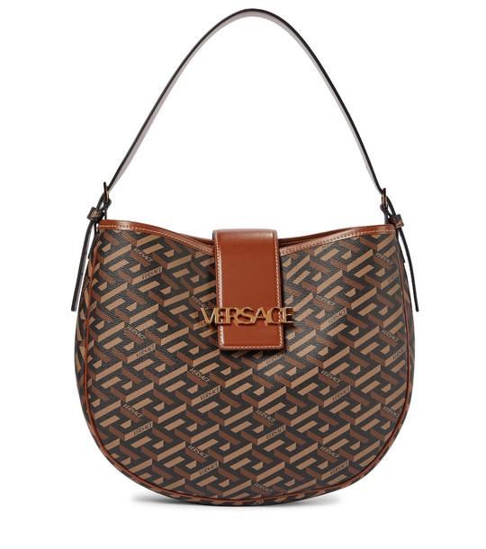 Versace Monogram leather-trimmed shoulder bag