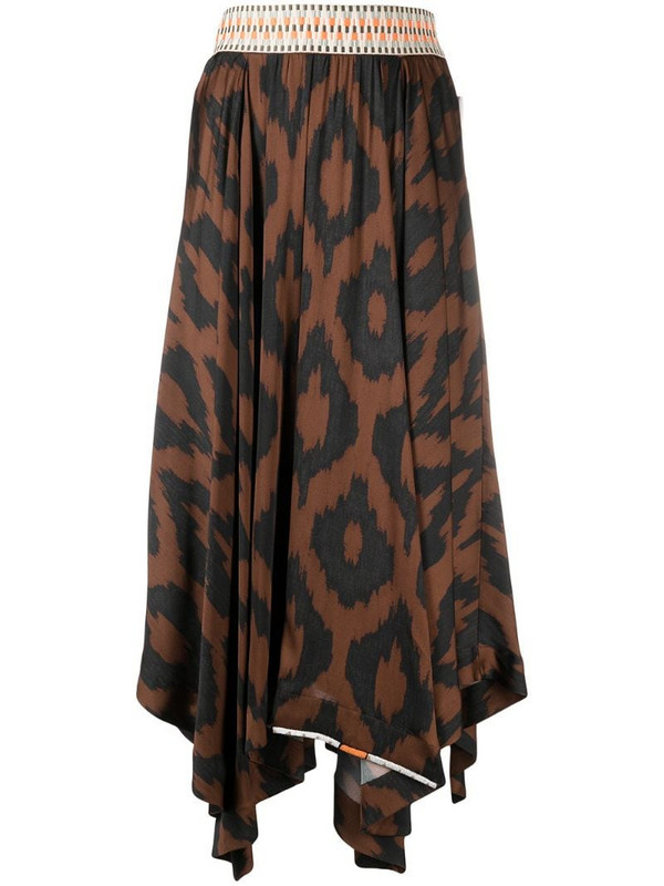 Bazar Deluxe geometric-print asymmetric midi skirt in brown