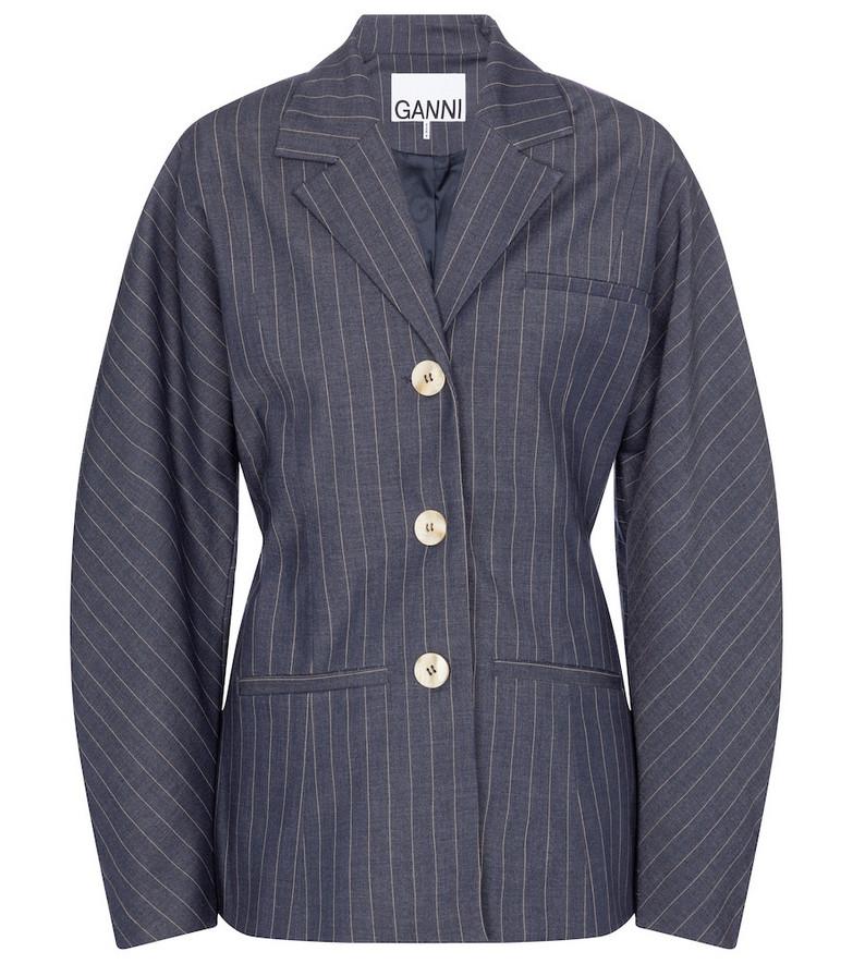 Ganni Pinstriped blazer in blue