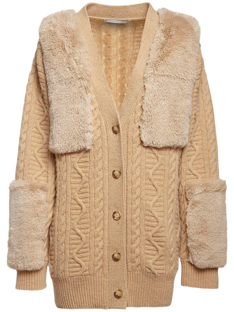 STELLA MCCARTNEY Faux Fur & Wool Knit Cardigan in beige