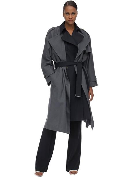 ROKH Long Layered Viscose Blend Coat in navy / grey