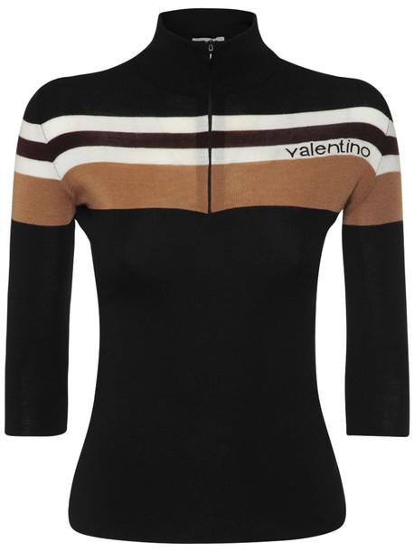 VALENTINO Wool Knit Zip Sweater in black