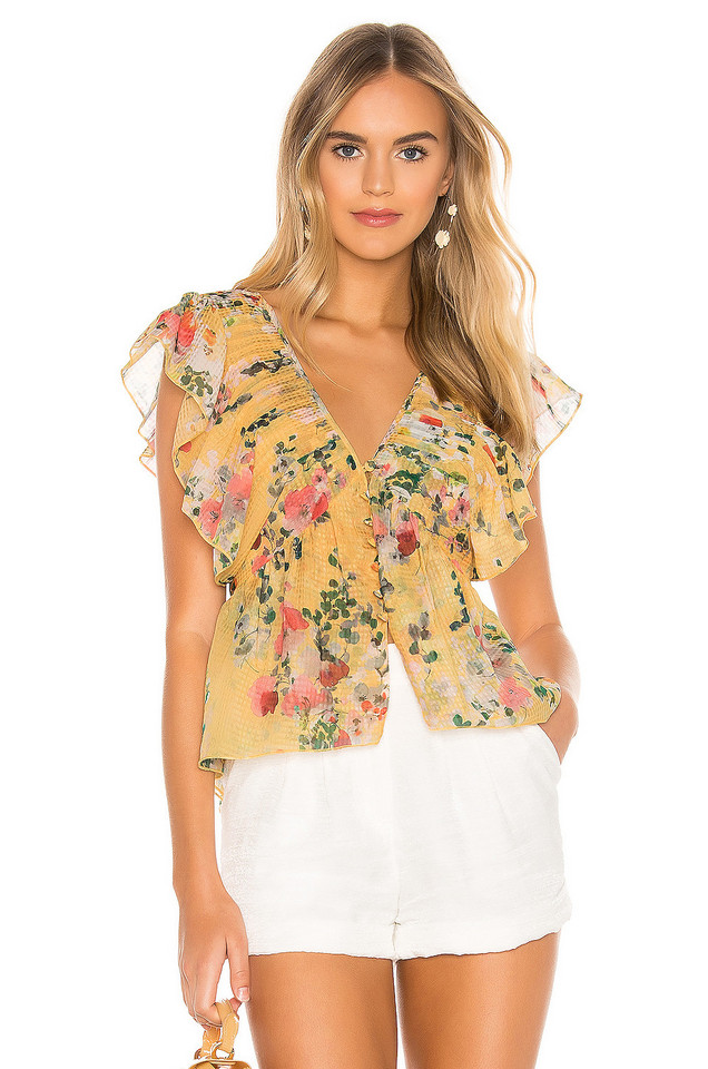 Divine Heritage Ruffle Button Up Blouse in yellow