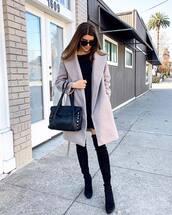 coat,grey coat,black boots,over the knee boots,black bag,shoulder bag,black dress,mini dress