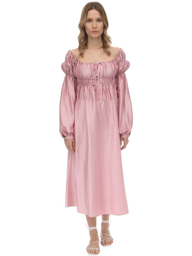 ÀCHEVAL PAMPA Antonia Gathered Shantung Midi Dress in pink