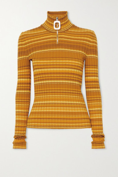 JW Anderson - Striped Ribbed Wool-blend Turtleneck Sweater - Mustard